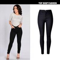 מכנסיים ג 'ינס נשים אופנה באיכות גבוהה צבע טהור של דמות ג' וקר שחור כיס אלסטי מותניים גבוהים ז 'אן מכנסיים רגליים מכנסיים