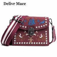 Vintage Rose Red Bags For Women 2018 Embroidery Scrub Flap Lock Bag Shoulder Bag Female Crossbody Messenger Bags Bolsos Mujer