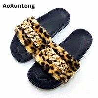 Aoxunlong новые модные блестящие алмаз тапочки Для женщин меховые домашние тапочки плоские туфли женская обувь розовый Eu 36-41 шлепанцы Для женщи...