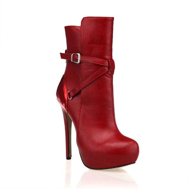 Zapatos Rojos mujeres botas moda hebilla tobillo botas mujer tacones  plataforma cómoda zapatos mujer botas tacón 774c66645da35