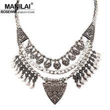 MANILAI Bohemia Design Fashion Necklaces For Women 2016 Vintage Carving Alloy Choker Statement Necklaces & Pendants Collares
