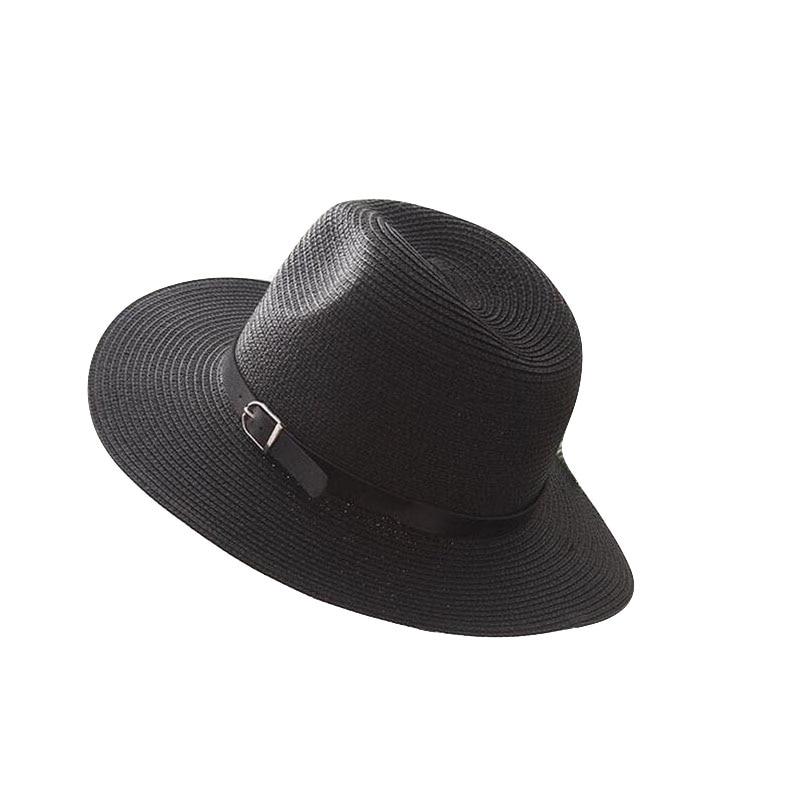 Wide Brim Straw Hat For Women Sun Hat Beach Jazz Summer Panama Hat Men Lady Belt Chapeau Male Visor Cap Sombrero Female in Men 39 s Sun Hats from Apparel Accessories