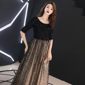 Image 5 - wei yin 2020 Black Long Evening Dress O neck Half Sleeves Ankle Length Lace Evening Dress Formal Party Dress Prom Dress WY1214