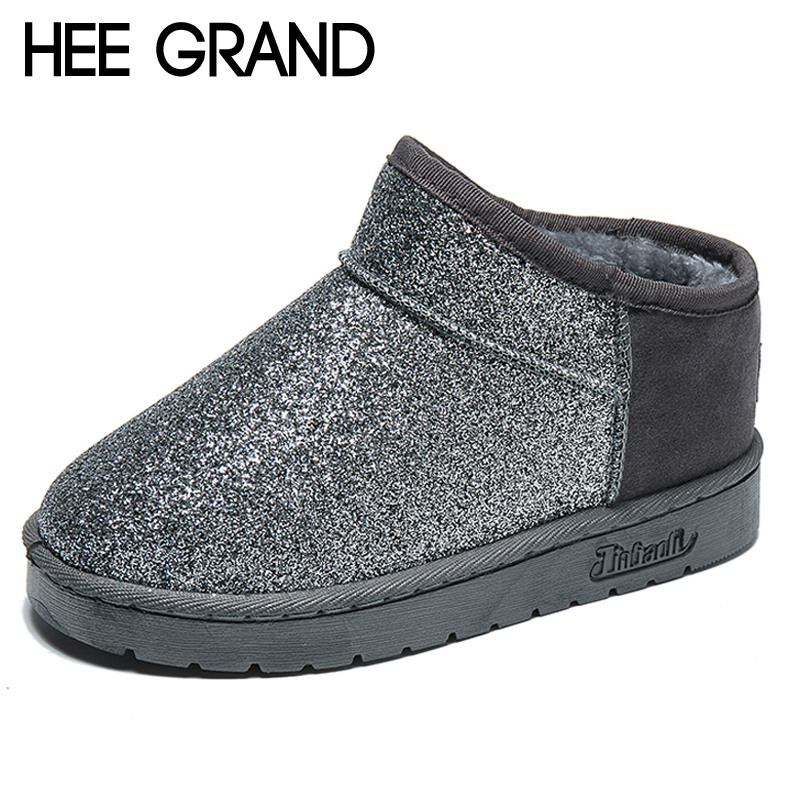 HEE GRAND Bling Faux Fur Women Snow Boots Sweet Cute Style Ankle Boots Winter Warm Shoes Women Platform Suede Snow Boots XWM279 hee grand inner increased winter ankle boots warm fringe fashion platform women snow boots shoes woman creepers 3 colors xwx6180