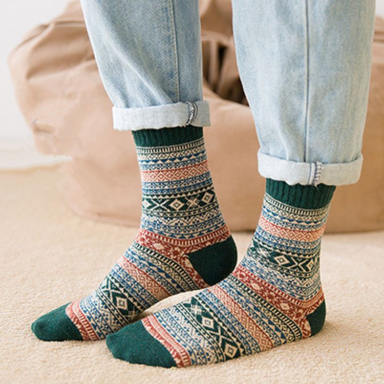 Men Thick Sock For Autumn Winter Warm Stripe Wool Socks Casual Calcetines Hombre Sock Business Male Socks Gifts For Men