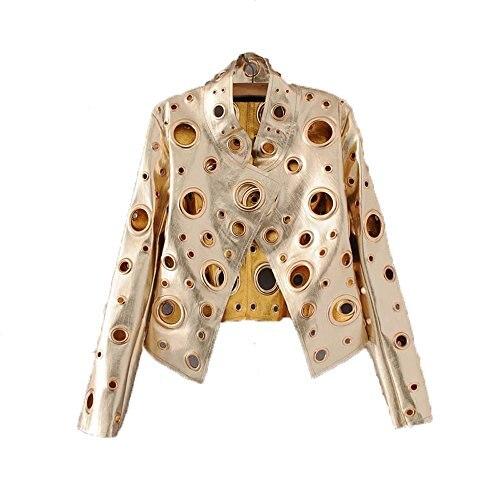 2017 Spring summer ladies fashion pu jacket hole cardigan collar long sleeve gold black gray female jacket