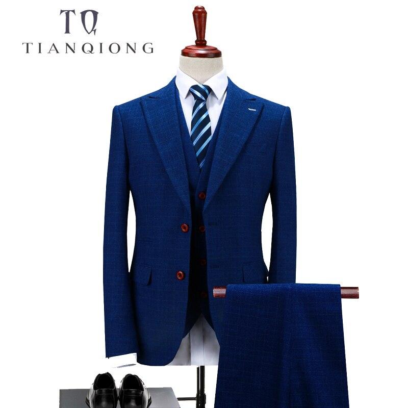 TIAN QONG mężczyzn granatowy smoking garnitur moda Slim Fit trzyczęściowy pana młodego garnitur weselny S 4XL męskie klasyczne garnitury biurowe QT268 w Garnitury od Odzież męska na  Grupa 1