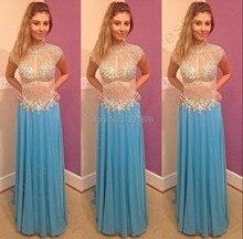 Atemberaubende Crystl Ice Blue Prom Kleider 2016 Abendkleider Junior Formale Lange Kleider Vestido Longo Sexy Abendkleider Nach Maß