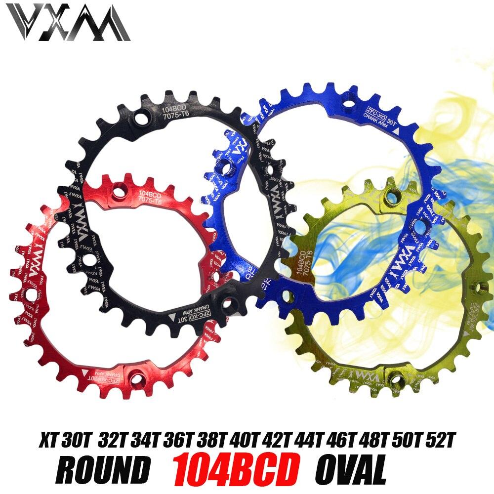 VXM bicicleta 104BCD manivela redondo Oval 30 t 32 t 34 t 36 t 38, T 40 t 42 t 44 t 46 T 48 t 50 t 52 T estrecha amplia rueda de cadena bicicleta MTB bicicleta engranaje