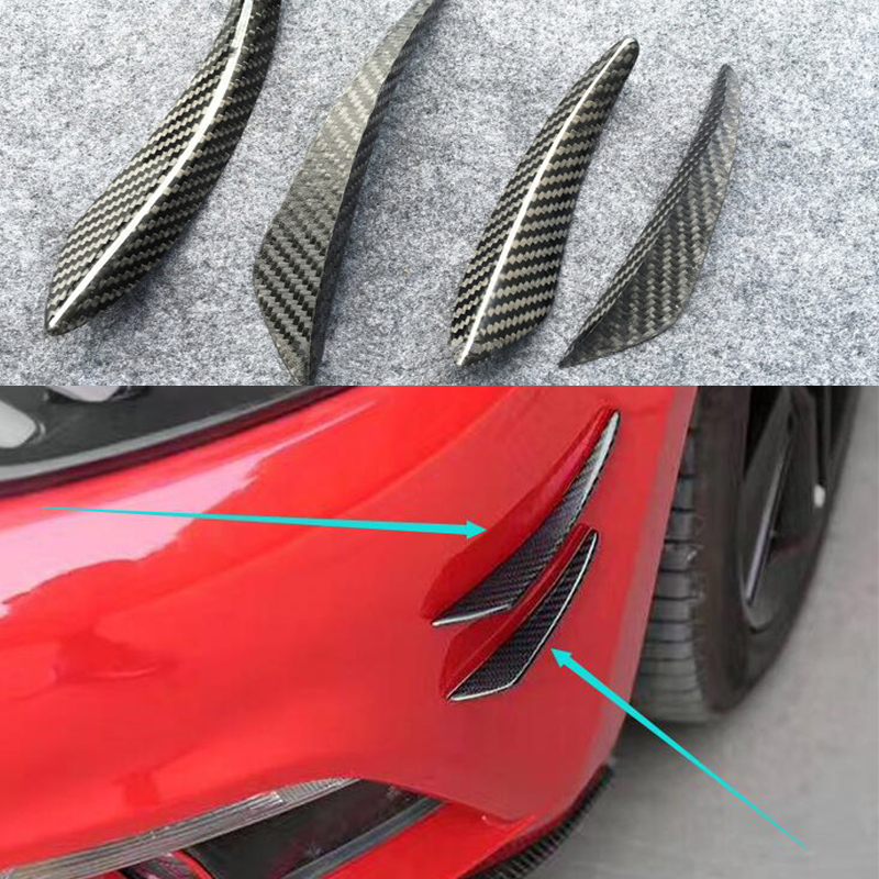 For Audi A1 A3 A4 A5 A6 A7 TT R8 4PCS SET Carbon Fiber Car Front
