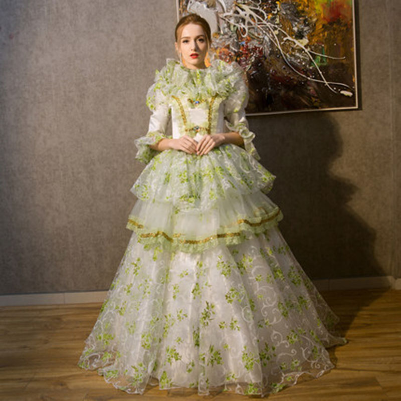 18e Eeuw Koninklijke Europese Hof Rococo Barok Lange Jurk Groen En Paars Mesh Middeleeuwse Periode Maskerade Baljurken Kostuum