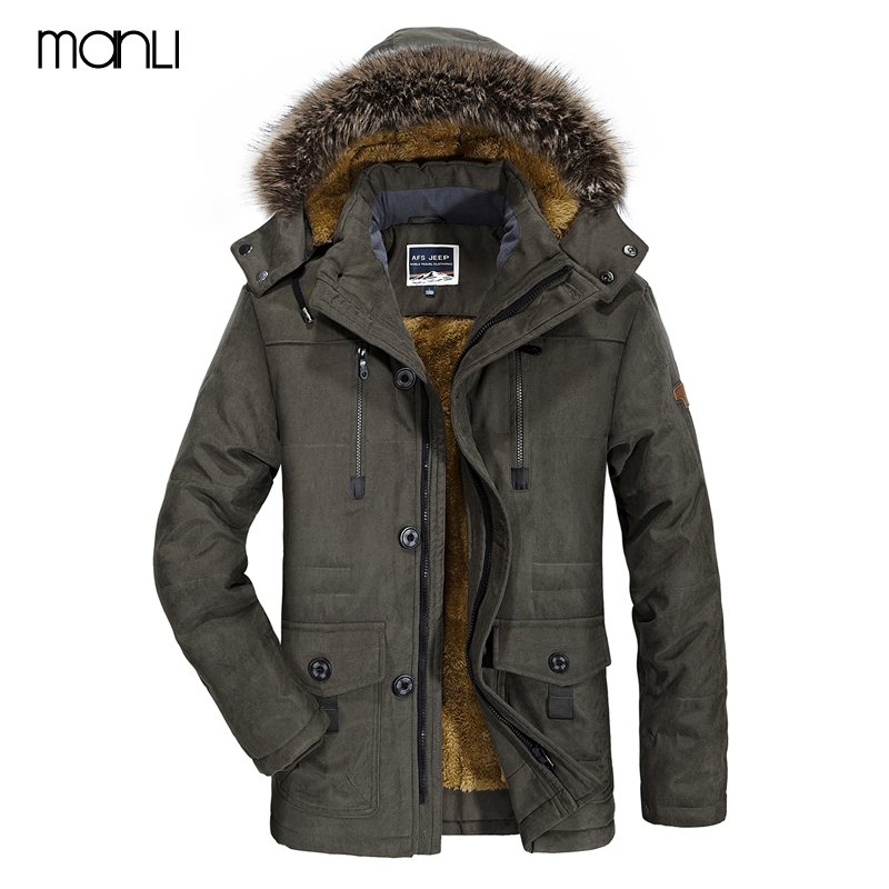 MANLI Outdoor Hiking Jackets 2018 Winter Coat male Parka Men Thick Warm Wool Liner Hooded Collar Plus Size 6XL Jacket Men Coat