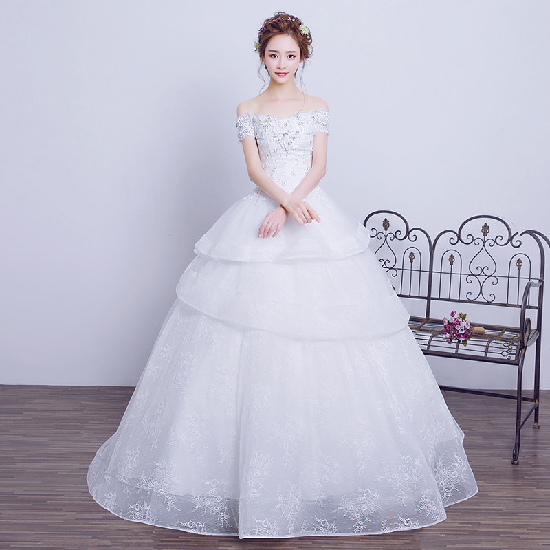 Elegant princess cut wedding gown real pictures customized for Wedding dress cuts