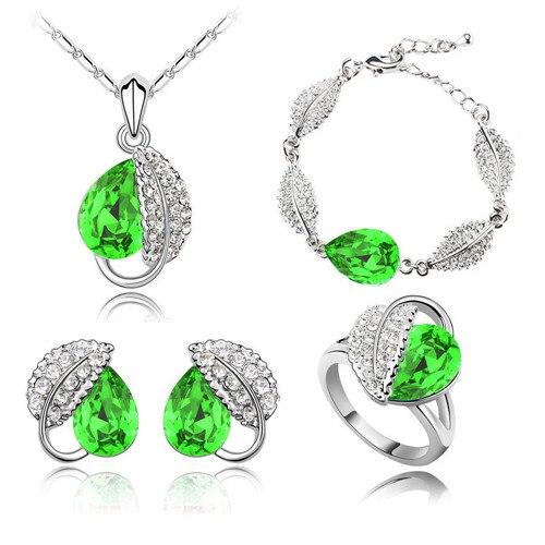 Летняя жизнь лист красивая капля воды для женщин океанический синий кристалл кулон Ювелирные наборы ожерелье серьги 2 в наборе 84172 - Окраска металла: dark green 4