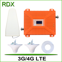 For 2 Rooms dual band 3g 4g cellphone booster high gain 70db mobile phone 2100 2600 LTE repeater amplifier with quality