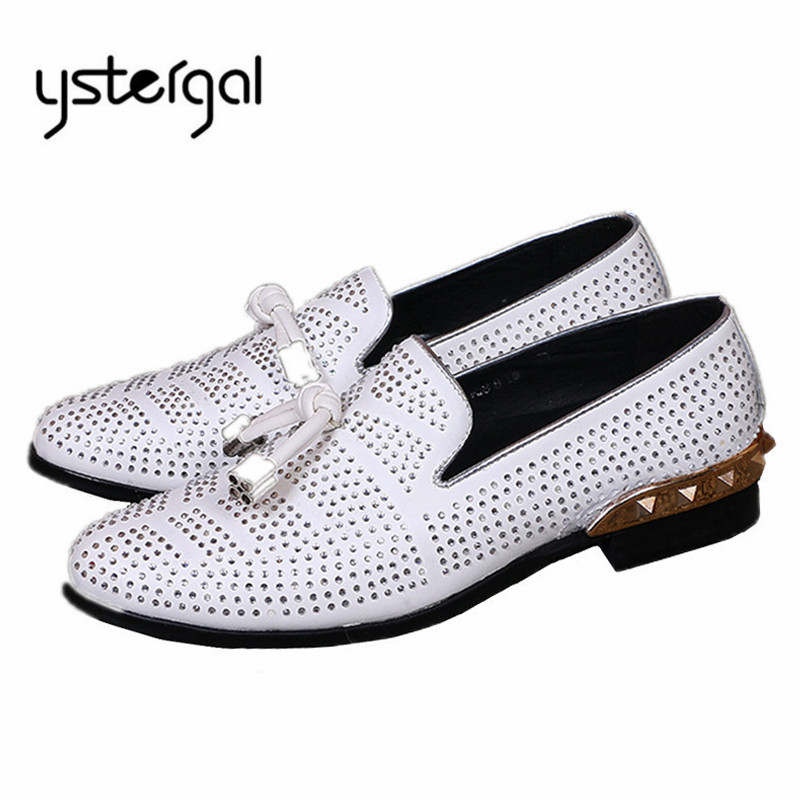YSTERGAL White Rhinestone Men Casual Flat Shoes Mens Wedding Dress Shoes Mocassin Homme Espadrilles Flats Formal Shoe Loafers mabaiwan fashion rhinestone flats men loafers wedding dress shoes slip on casual shoes men creepers espadrilles mocassin homme