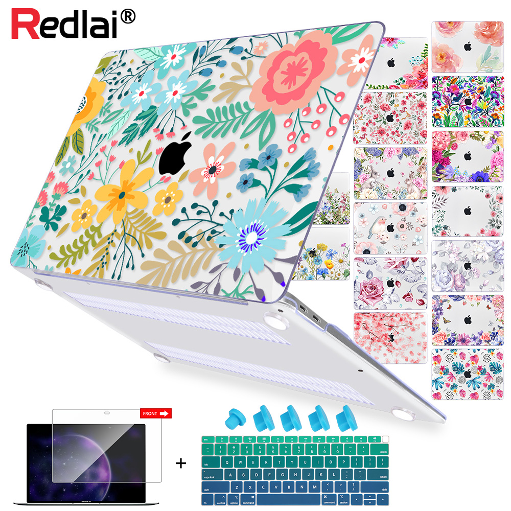 Floral Laptop Case For MacBook 12 Air 11 Air 13 A1466 A1932 Retian Pro 13 15 2018 Touch Bar Plastic Hard Case Keybaord Cover