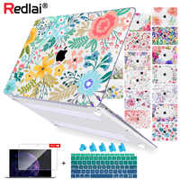 Floral Ordinateur Portable étui pour macbook 12 Air 11 Air 13 A1466 A1932 Retian Pro 13 15 2018 Touch bar En Plastique étui rigide Clavier Couverture