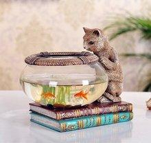 Figurine chat gourmand en résine et en verre d'aquarium, accessoire artisanal, embellissement, décoration de la maison et cadeau