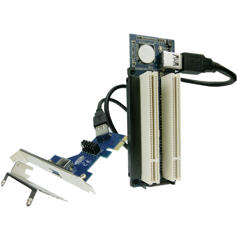 Riser PCI-E x16 pcie pci Express 16X to 2x PCI slot Extender Card adapter ADP09925
