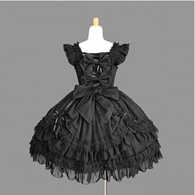Manches mi - longueur noir coton robe Gothic Lolita