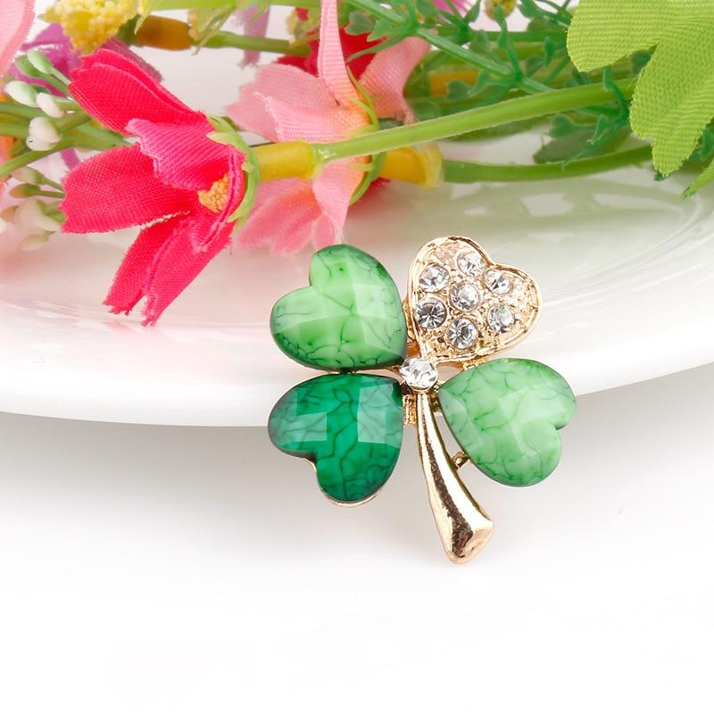 2019-Light-Green-4-Leaf-Clover-Crystal-Irish-Shamrock-Brooch-Lapel-Collar-Pins-for-Men-or