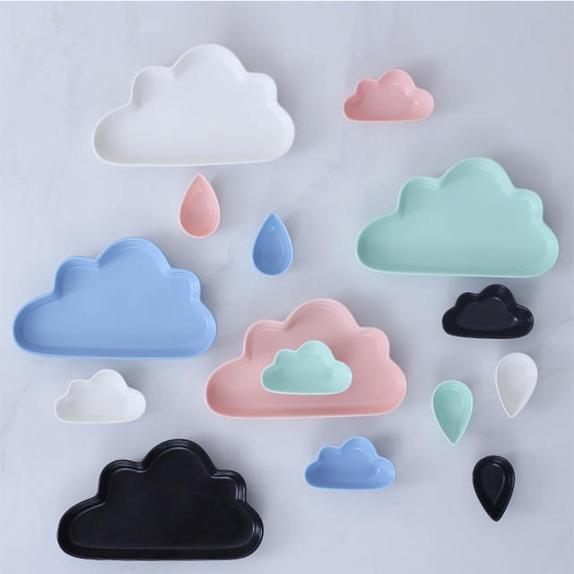 Ceramic Porcelain Cloud Rain Plate Matt Smooth Novel Cute Dish Dinnerware Kid Children Baby & Ceramic Porcelain Cloud Rain Plate Matt Smooth Novel Cute Dish ...