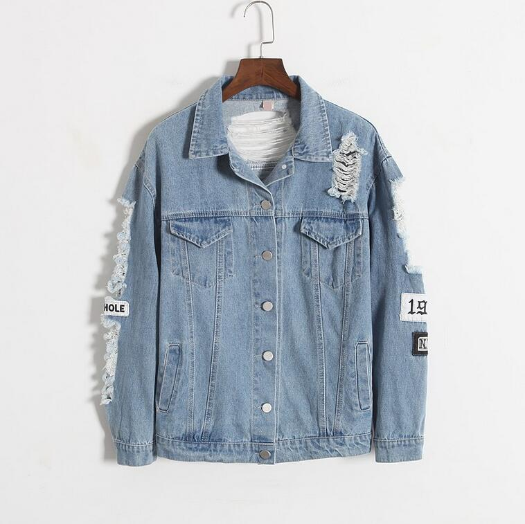 Where is my mind? Korea Kpop retro washing frayed embroidery letter patch bomber jacket Blue Ripped Distressed Denim Coat Female 1