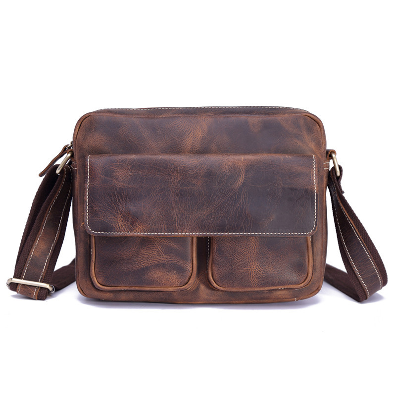 Kingsons Fashion Genuine Leather Men's Handbag Cow Men Shoulder Nylon Man Crossbody Messenger Bag Vintage Crazy Horse Hand Bags