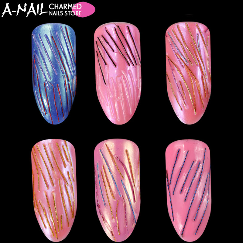 A-nail 12 colors /set Japanese Style Golden Silver line Rolls Copper Extra Tiny Wire Line DIY Nail Art Tips Nail Decorations 1pcs lot gold silver rolls copper wire line diy nail art tips decoration sticker