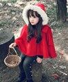 Nueva Retail Girls precioso manto rojo/mantones/Año Nuevo manto rojo