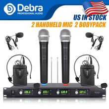 Top quality!!!Debra Audio D-140 4 Channel with 2Handheld and 2Lavalier &  Headset Mic UHF Wireless Microphone System for karaoke high end uhf 8x50 channel goose neck desk wireless conference microphones system for meeting room