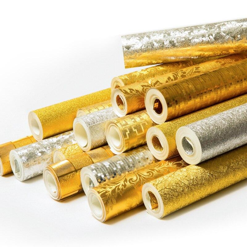 Beibehang haute qualité feuille d'or pur or jaune argent papier peint ktv hôtel ingénierie local or salon plafond papier peint - 2