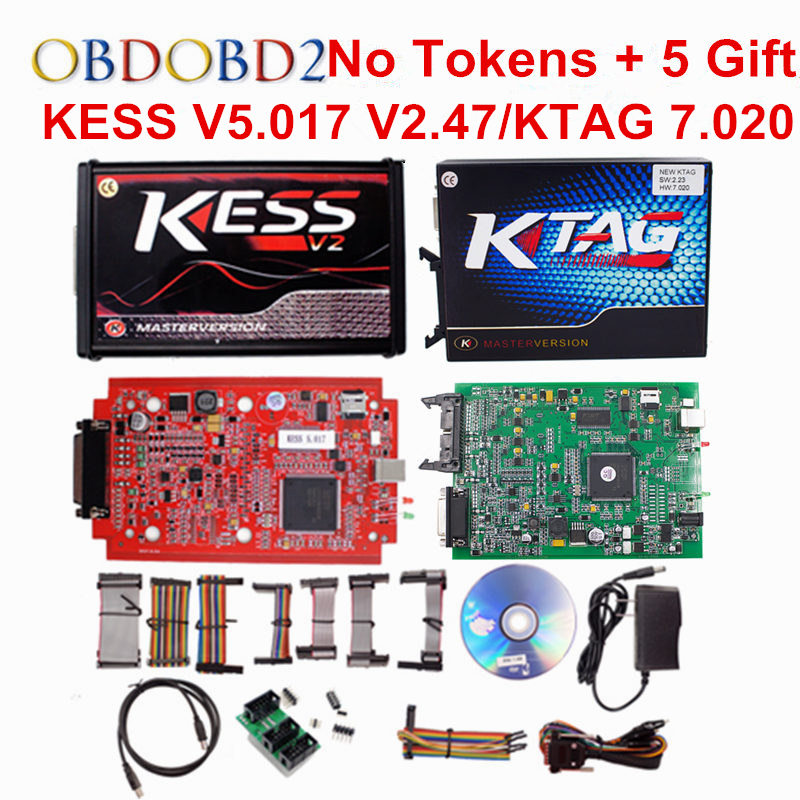 KESS V2 V5.017/KTAG V7.020 OBD2 Manager Tuning Kit Red EU KESS 5.017 V2.47 Red K tag K-TAG 7.020 No Tokens Master Online Version