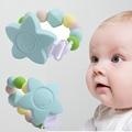 Real Bubee Bpa Silicone Dentição Chupeta Clipe + Clips Pingente Estrelas Brinquedo Mordedor para o Bebê Dentição