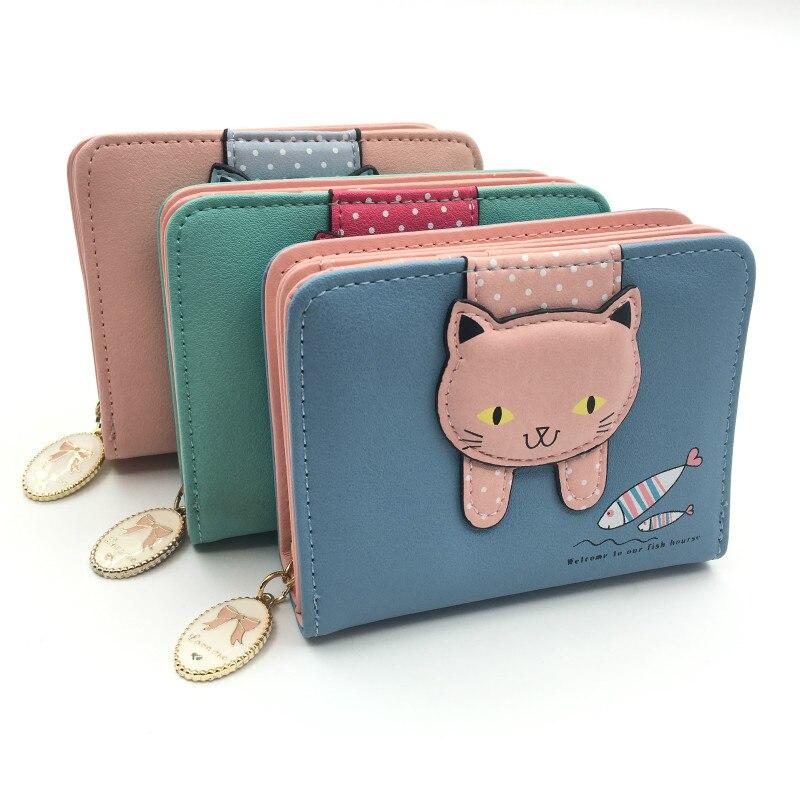 Women cute cat wallet small zipper girl wallet brand designed pu leather women coin purse female card holder wallet billetera 5