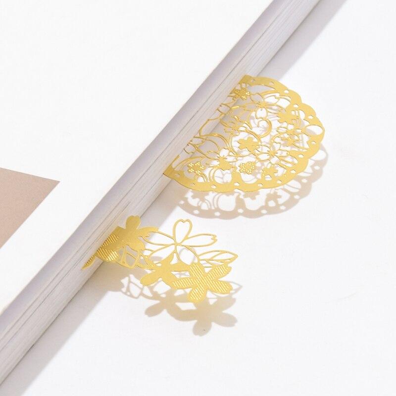 1 Pcs Bookmark Cherry Blossom Series Book Mark Book Markers Kawaii Kittens Metal Bookmark Book School Office Supplies Stationery