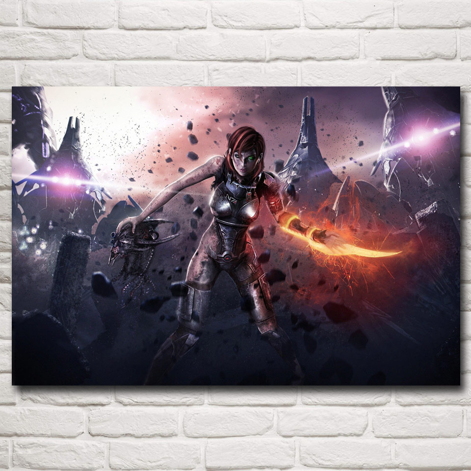 FOOCAME Mass Effect 2 3 4 Shooting Action Game Art Silk Poster Picture Living Room Decor 12x18 16X24 20x30 24x36 Inches(China)