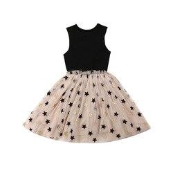 2-7y verão moda criança bebê menina formal vestido de festa sem mangas estrela impressão tule tutu princesa conjunto de roupas de casamento
