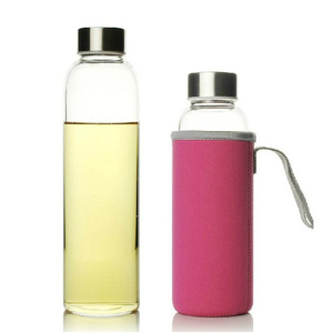 UPORS Glass Water Bottle 280ml/360ml/550ml Sport Bottle with Stainless Steel Lid and Protective Bag BPA Free Travel Drink Bottle