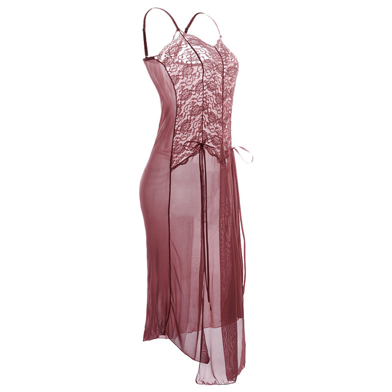 S M L XL XXL 3XL 5XL <font><b>6XL</b></font> Erotic <font><b>Sexy</b></font> <font><b>Costumes</b></font> Babydoll Dress Woman Long <font><b>Sexy</b></font> Lace Lingerie Plus Size Erotic Gown 8166 image