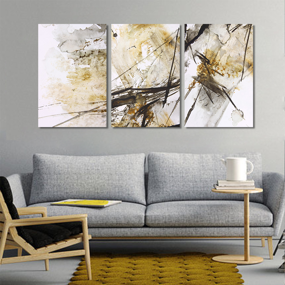 Unframed 3 pairs Abstract Canvas Painting Lnk Graffiti Wall Art Decor Prints Wall Pictures For Living Room Wall Art Decoration