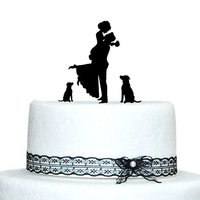 Personalized Custom Wedding Cake Topper Bride And Groom Silhouette With 2 Dog Wedding Cake Stand Wedding