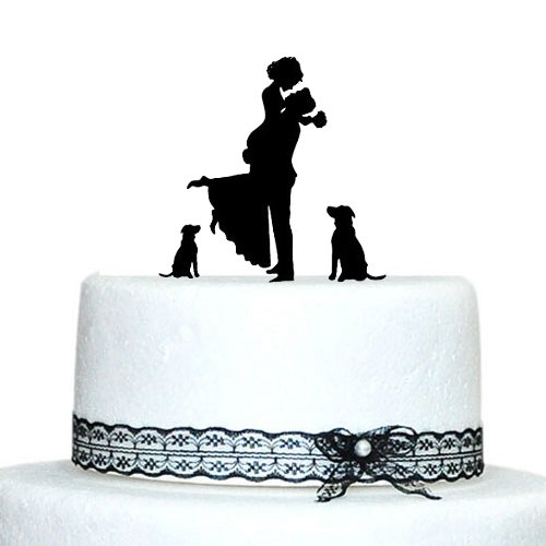 personalized wedding cake topper with dog personalized wedding cake topper and groom 18289