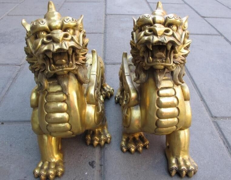 Chinese Pure Brass Talisman Fengshui Evil Door Fu Foo Dog Lion Beast Kylin Pair.