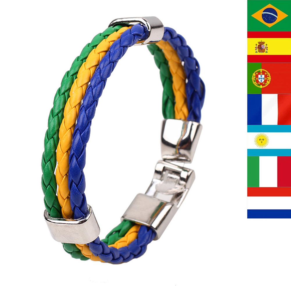 National Flag Leather France Wristband Nigeria Bracelets Soccer  Dropshipping