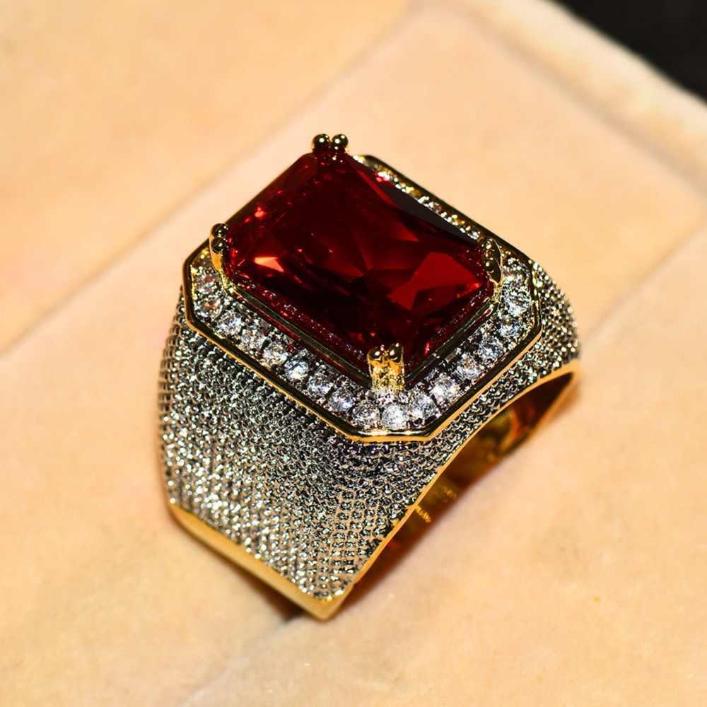 Wspaniały mężczyzna kobieta duży czerwony pierścionek zaręczynowy śliczne żółte złoto biżuteria cyrkon kamienny pierścień Vintage obrączki dla mężczyzn i kobiet