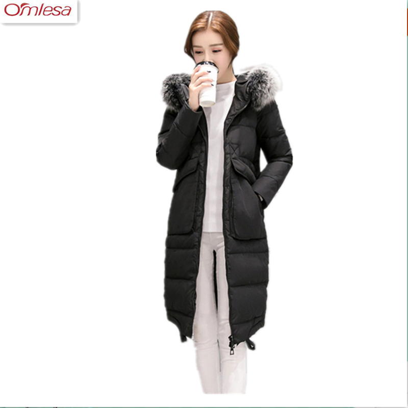 OMLESA 2017 Winter Jacket Women Hooded Coats Long White Duck Down Jackets Women Parkas Elegant Thick Coats Femme Invierno DQ058