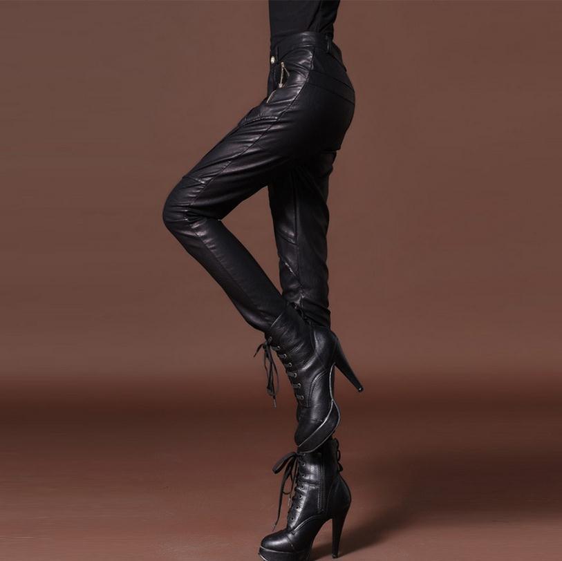 Automne et hiver femme nouvelle mode Pu cuir avec velours crayon pantalon Slim leggings plus épais plus cachemire chaleur pantalon w1813 - 3