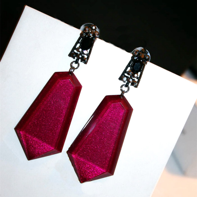 Statement Geometric Zircon Long Earrings For Women Red Blak Grey Fashion font b Jewelry b font